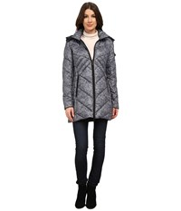 Rainforest Knit Printed Puffer Black Grey Women's Coat