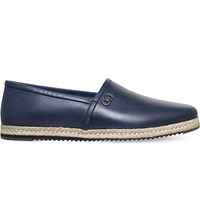 Salvatore Ferragamo Giunone Leather Espadrilles Blue