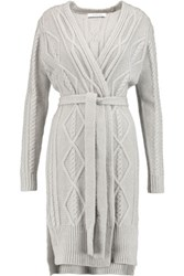 Derek Lam 10 Crosby By Cable Knit Cotton Blend Cardigan Gray