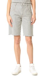 Alexander Wang Frayed Striped Shorts Ecru