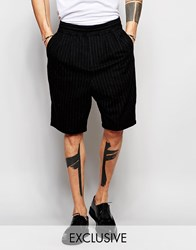 Black Eye Collective Black Eye Rags Shorts In Wool With Pinstripe Black