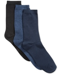 Charter Club Crew Socks 3 Pack Only At Macy's Navy Black