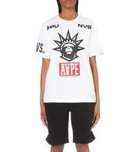 Aape By A Bathing Ape Crown Logo Print Cotton Jersey T Shirt White