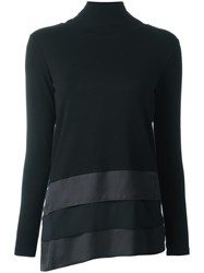 Fabiana Filippi Stripe Hem Turtleneck Sweatshirt Black