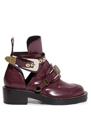 Balenciaga Ceinture Cut Out Leather Ankle Boots Burgundy