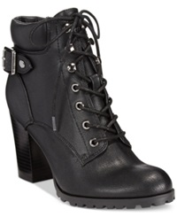 Style And Co. Caitlin Lace Up Booties Women's Shoes Black