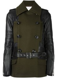 Sacai Panelled Quilted Jacket Green