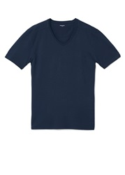 Mango Chelsea5 V Neck Cotton T Shirt Navy