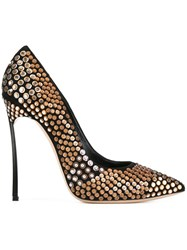 Casadei Metallic Embellished Pumps Black