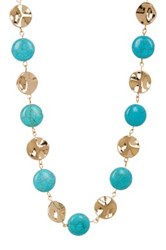 Natasha Accessories Stone And Hammered Disc Necklace Blue