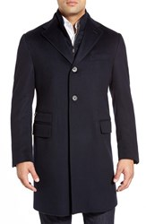 Men's Big And Tall Corneliani Classic Fit Solid Wool Overcoat Navy