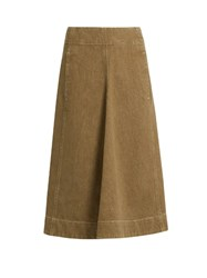 Christophe Lemaire A Line Denim Skirt Khaki
