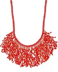 Macy's Silver Tone Colorful Beaded Bib Necklace Coral