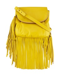 Cynthia Vincent Autumn Leather Fringe Crossbody Bag Yellow