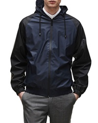 Rains Water Resistant Bomber Jacket With Navy Hood And Black Sleeves