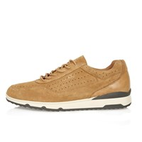 River Island Mens Camel Suede Perforated Trainers