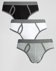 Asos Briefs In Monochrome Rib 3 Pack Monochrome Multi