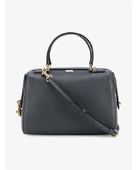 Dolce And Gabbana Grained Leather Handbag With Padlock Grey Black White