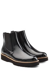 Hogan Patent Leather Chelsea Boots Black