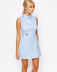 Fashion Union Aline Shift Dress With Collar Pale Blue