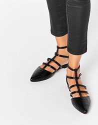 Asos Lookout Caged Pointed Ballet Flats Black