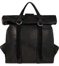 Guidi Roll Top Horse Leather Backpack Blkt