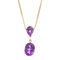 A B Davis 9Ct Gold Double Drop Pendant Necklace Amethyst