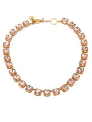 Tory Burch Crystal Stone Short Necklace Pink Blossom