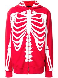99 Is Skeleton Print Zipped Hoodie Red