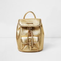 River Island Womens Gold Metallic Mini Backpack