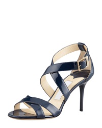 Jimmy Choo Louise Crisscross Patent Leather Sandal Navy