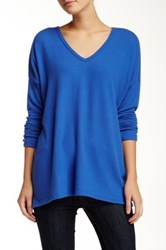 Go Couture V Neck Long Sleeve Vintage Knit Sweater Blue