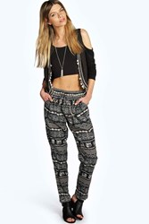 Boohoo Elephant Print Tapered Trousers Multi
