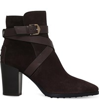 Tod's Gomma Suede Heeled Ankle Boots Dark Brown