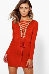Boohoo Cara Lace Up Back Detail Bodycon Dress Spice