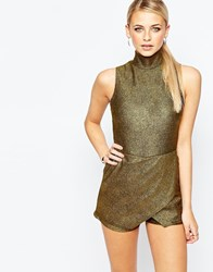 Boohoo High Neck Metallic Rib Skort Playsuit Gold