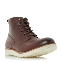 Dune Conrad Wedge Sole Lace Up Boots Burgundy