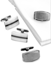 Kenneth Cole Reaction Black And Silver Cufflinks Black Knight