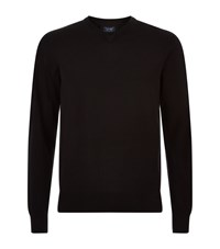 Armani Jeans V Neck Cotton Sweater Male Black