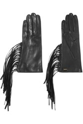 Prada Fringed Leather Gloves Black