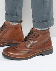 Frank Wright Brogue Boots In Tan Leather Tan