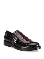 Tod's Lace Fringe Leather Loafers Black Red