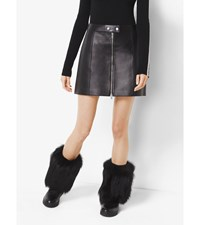 Zip Up Leather Skirt Black