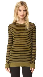 Alexander Wang Striped Long Sleeve Tee Black And Forest