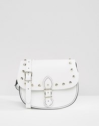 Leather Satchel Company The Studded Saddle Bag White