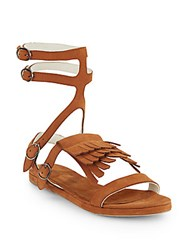Freda Salvador Fringed Suede Gladiator Sandals Tan