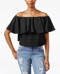 Rachel Rachel Roy Off The Shoulder Flutter Sleeve Crop Top Black