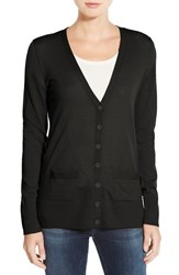 Halogenr Petite Women's Halogen V Neck Lightweight Merino Cardigan Black