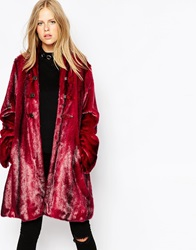 Urbancode Funnel Neck Fur Coat Cherrymink