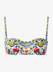 Dolce And Gabbana Maiolica Print Bikini Top White Multi Coloured Denim